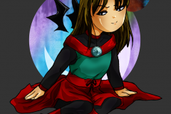 Halloween chibi of Celi dressed in a concept outfit from the comic's planning stage ( 2014 )
