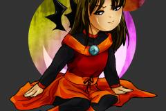 Halloween chibi of Celi dressed in a concept from the comic's planning stage, alt colors ( 2014 )